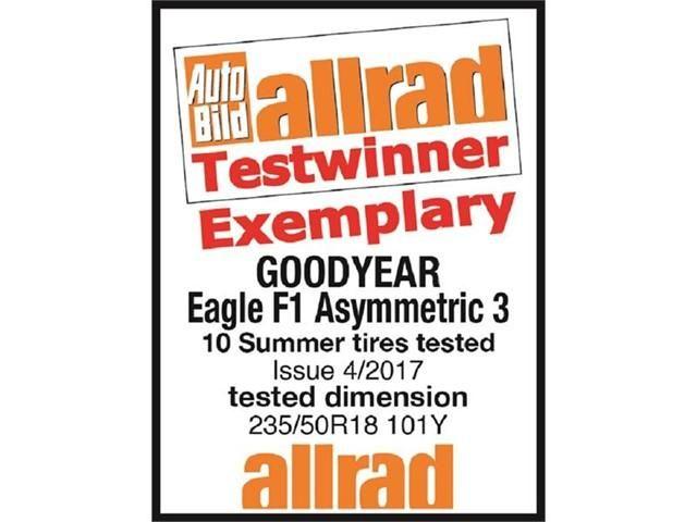 Goodyear Eagle F1 Asymmetric 3 стали победителями в тестах Auto Bild Allrad 2017