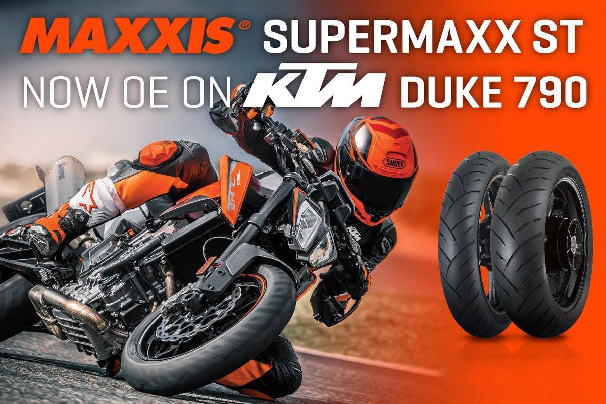 Новый мотоцикл KTM 790 Duke обули в покрышки Maxxis Supermaxx ST