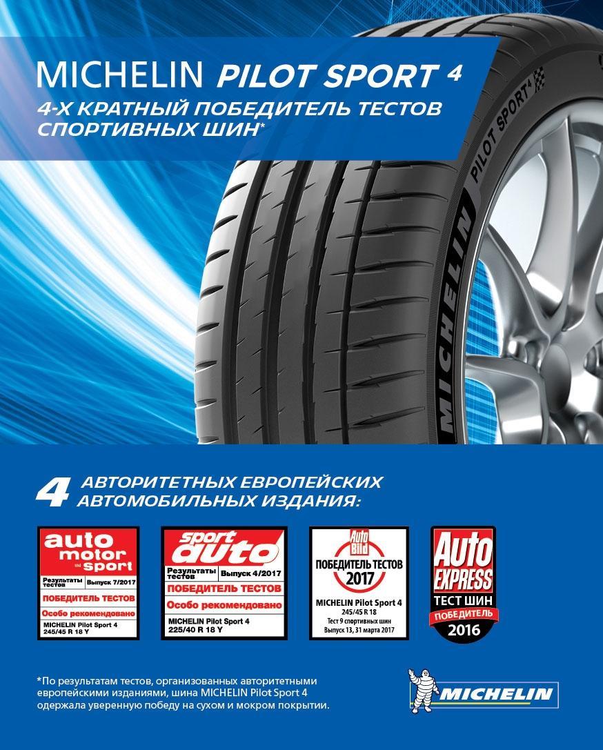 Четыре победы шин Michelin Pilot Sport 4 в сравнительных тестах европейских автожурналов