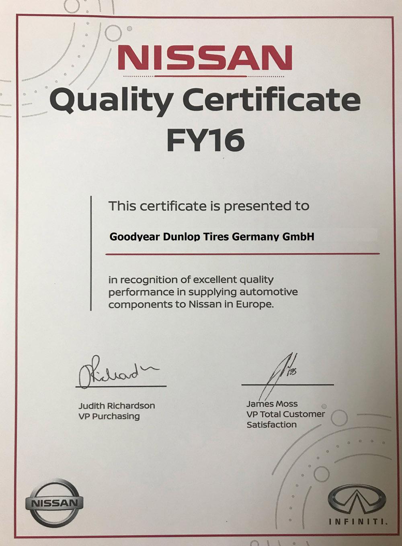 Nissan отметила поставляемые Goodyear шины сертификатом качества