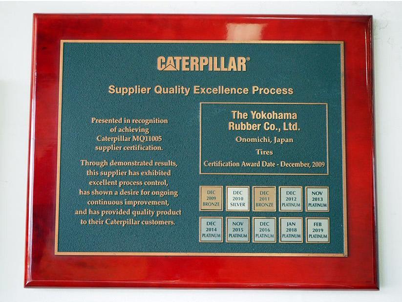 Yokohama седьмой год подряд признана лучшим поставщиком компании Caterpillar
