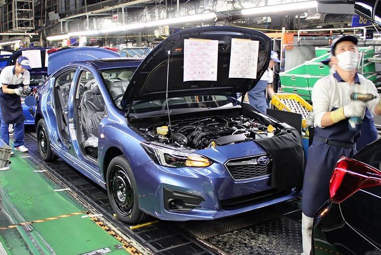 Завод Subaru остановил работу из-за тайфуна